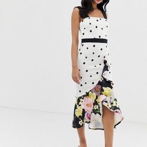 ASOS True Violet frill front midi dress